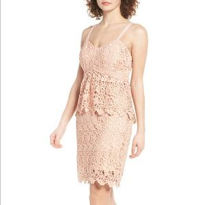 J.O.A. Ruffle Lace Bodycon Dress Blush Pink